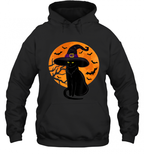 Vintage Scary Halloween Black Cat Costume Witch Hat Moon Hoodie
