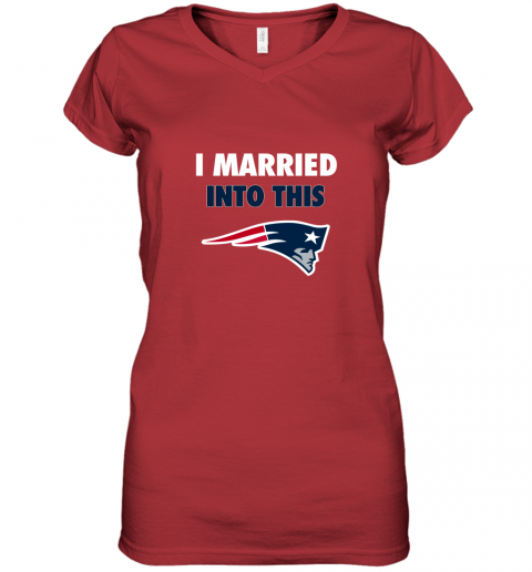 xgdu i married into this new england patriots football nfl women v neck t shirt 39 front red