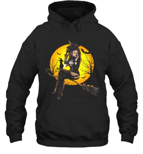Scary Sexy Witch with Black Cat Halloween Mythology Dark Art Hoodie