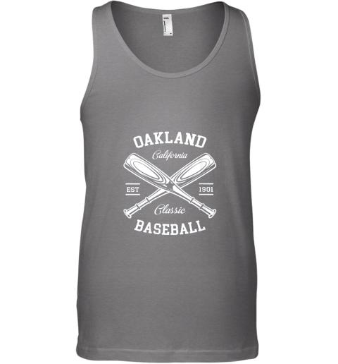 iszv oakland baseball classic vintage california retro fans gift unisex tank 17 front graphite heather