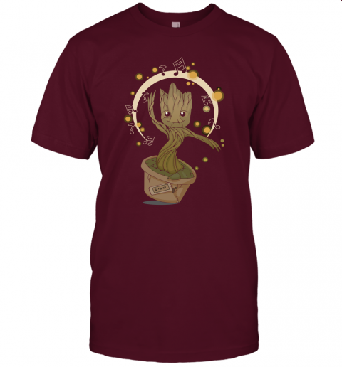 ebyq baby groot dancing to music guardians of the galaxy shirts jersey t shirt 60 front maroon