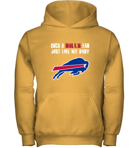 lnzk buffalo bills born a bills fan just like my daddy youth hoodie 43 front gold