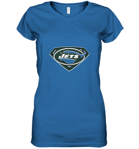 vyne we are undefeatable the new york jets x superman nfl women v neck t shirt 39 front royal
