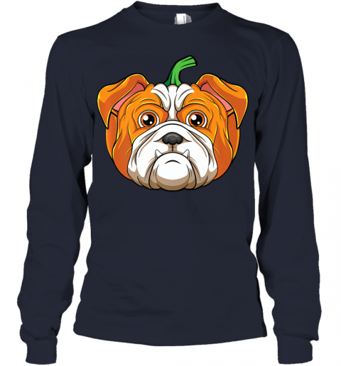 Bulldog Dog Pumpkin Funny Halloween Thanksgiving Gift Kids Premium Youth Long Sleeve