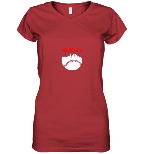 hldv retro minnesota baseball minneapolis cityscape vintage shirt women v neck t shirt 39 front red