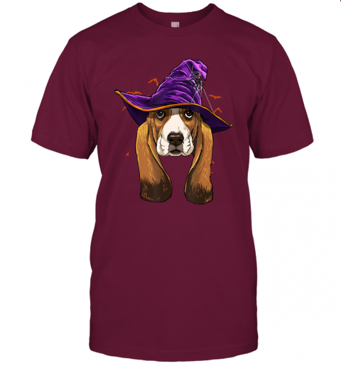 Basset Hound Witch Hat Funny Halloween Dog Lover Gift T-Shirt