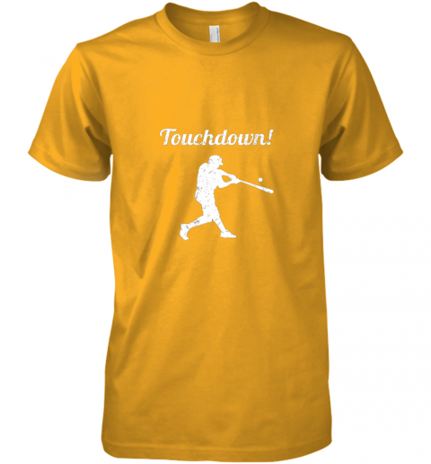 unzl touchdown funny baseball premium guys tee 5 front gold