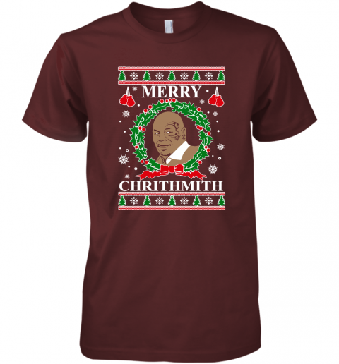 Merry Chrithmith Ugly Christmas Slouchy Off Shoulder Oversized Premium Men's T-Shirt