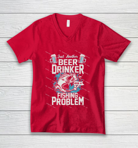 Beer Lover Funny Shirt Fishing ANd Beer V-Neck T-Shirt 6