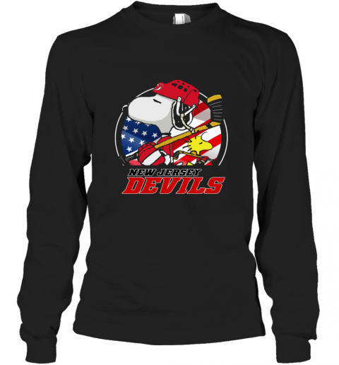 New Jersey Devils  Snoopy And Woodstock NHL Long Sleeve T-Shirt