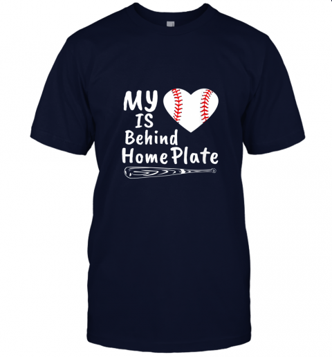 0osr womens my heart is behind home plate baseball bat mom dad gift jersey t shirt 60 front navy