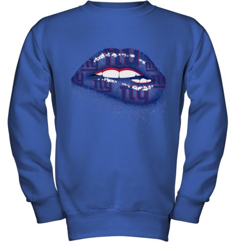 Biting Glossy Lips Sexy New York Giants NFL Football Youth Sweatshirt