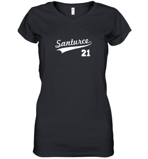 Vintage Santurce 21 Puerto Rico Baseball Women's V-Neck T-Shirt