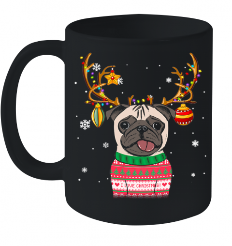Pug Reindeer Christmas Holiday Funny Ceramic Mug 11oz