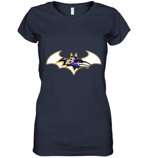 mzdb we are the baltimore ravens batman nfl mashup women v neck t shirt 39 front navy