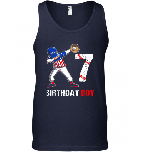xr8z kids 7 years old 7th birthday baseball dabbing shirt gift party unisex tank 17 front navy
