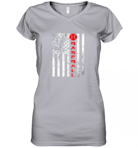 tsq7 usa red whitevintage american flag baseball gift women v neck t shirt 39 front sport grey