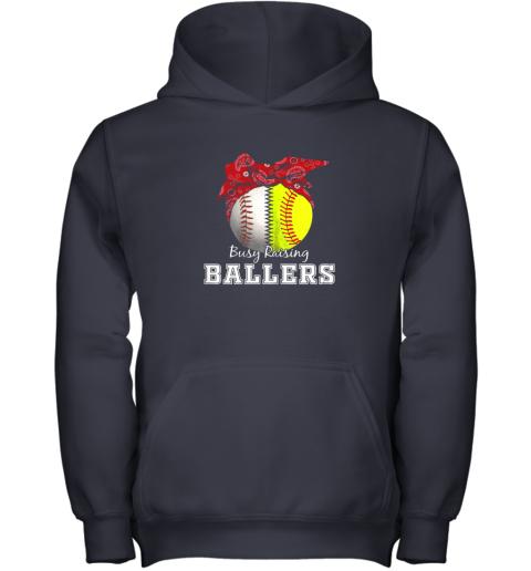 s41x busy raising ballers softball baseball shirt baseball mom youth hoodie 43 front navy