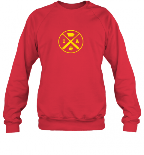 9ywc vintage iowa baseball bats ia state outline sweatshirt 35 front red