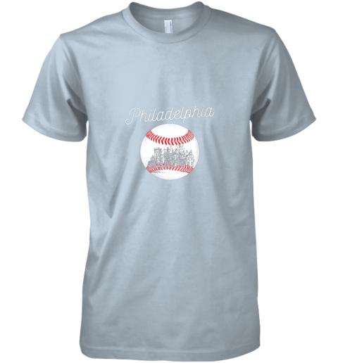 pttx philadelphia baseball philly tshirt ball and skyline design premium guys tee 5 front light blue