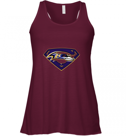 vnir we are undefeatable the baltimore ravens x superman nfl flowy tank 32 front maroon