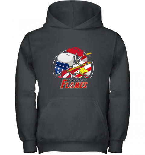 Calgary Flames   Snoopy And Woodstock NHL Youth Hoodie
