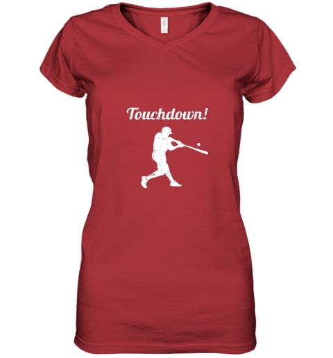 plpp touchdown funny baseball women v neck t shirt 39 front red