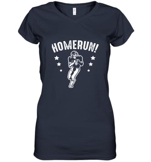 qzrc homerun football baseball mix wrong sports women v neck t shirt 39 front navy