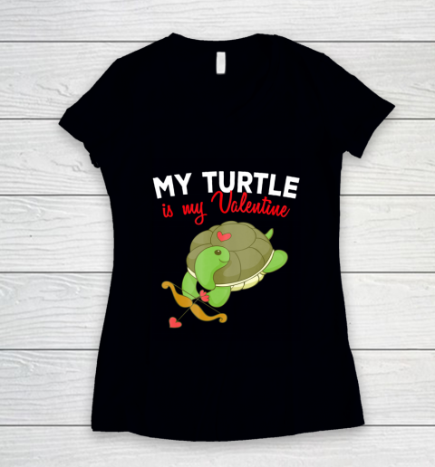 Turtle Valentine T Shirt Sea Turtle Cupid Valentines Day Women's V-Neck T-Shirt
