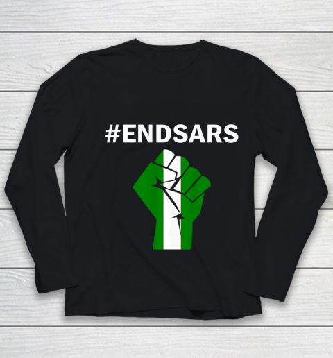 EndSARS End SARS Nigeria Flag Colors Strong Fist Protest Youth Long Sleeve