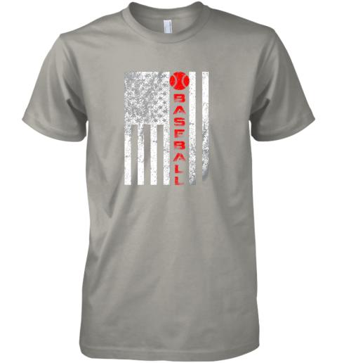 2o1t usa red whitevintage american flag baseball gift premium guys tee 5 front light grey