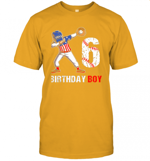 sstz kids 6 years old 6th birthday baseball dabbing shirt gift party jersey t shirt 60 front gold