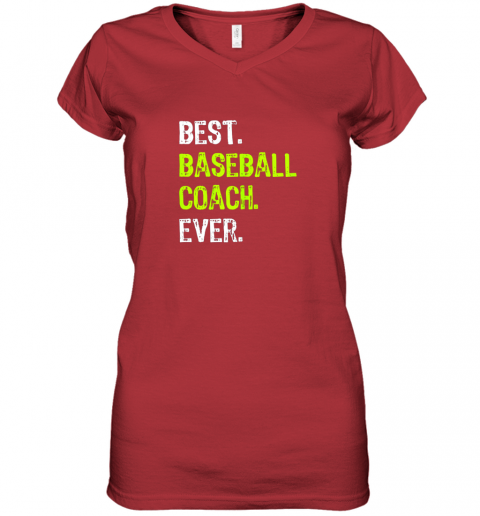 yk4o best baseball coach ever funny gift women v neck t shirt 39 front red