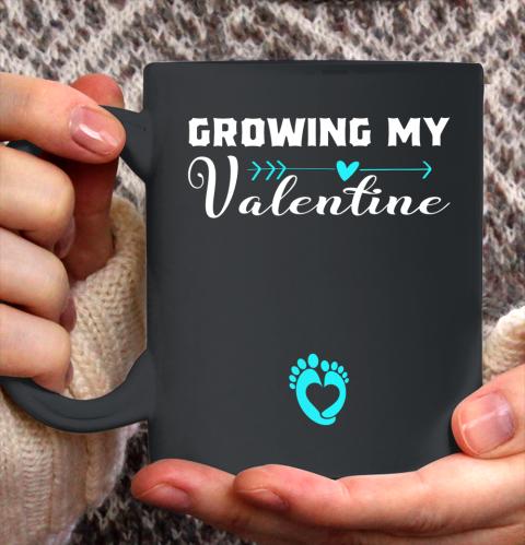 Cute Growing my Valentine Gift for Women pregnancy Ceramic Mug 11oz 2