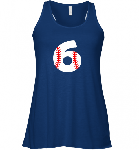 swor sixth birthday 6th baseball shirtnumber 6 born in 2013 flowy tank 32 front true royal