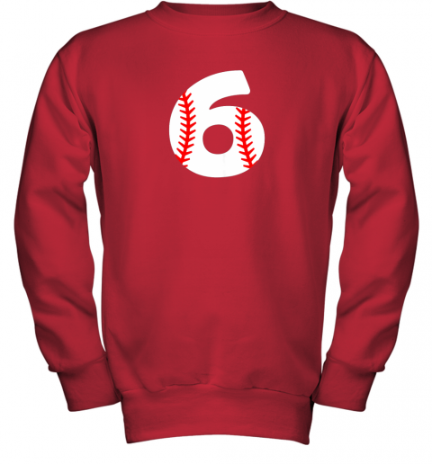 mrhd sixth birthday 6th baseball shirtnumber 6 born in 2013 youth sweatshirt 47 front red
