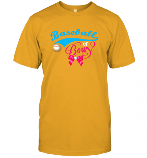 nskq cute baseball or bows gender reveal party jersey t shirt 60 front gold