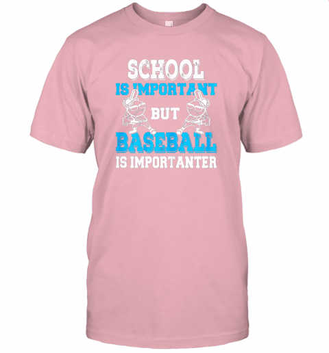 9ksg school is important but baseball is importanter boys jersey t shirt 60 front pink