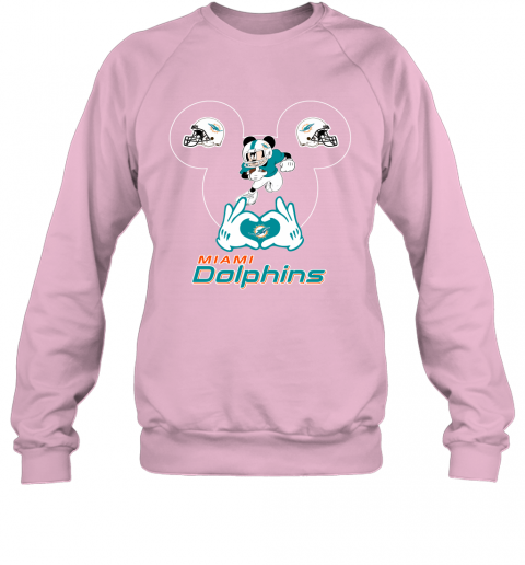 uqpy i love the dolphins mickey mouse miami dolphins sweatshirt 35 front light pink