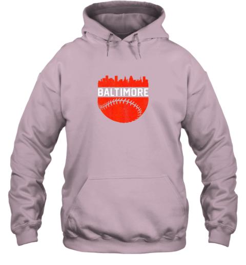 j82h vintage downtown baltimore maryland skyline baseball hoodie 23 front light pink