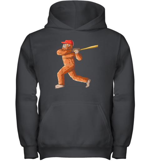 Bigfoot Baseball Sasquatch Playing Baseball Player Youth Hoodie