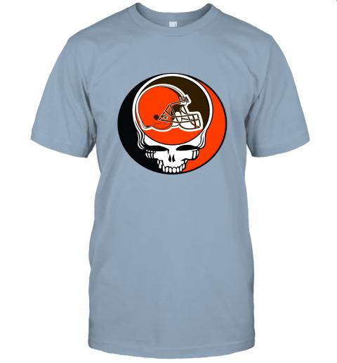 kdsp nfl team cleveland browns x grateful dead logo band jersey t shirt 60 front light blue