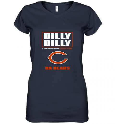 v0rk dilly dilly a true friend of the chicago bears women v neck t shirt 39 front navy