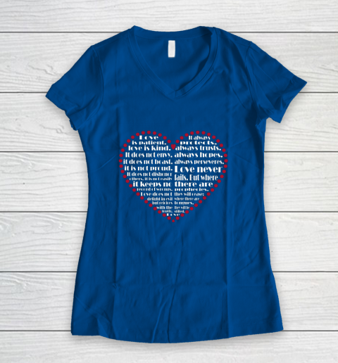 Love is patient love is kind Valentine Hearts Valentines day Women's V-Neck T-Shirt 7