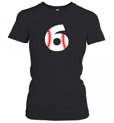 p84w sixth birthday 6th baseball shirtnumber 6 born in 2013 ladies t shirt 20 front black