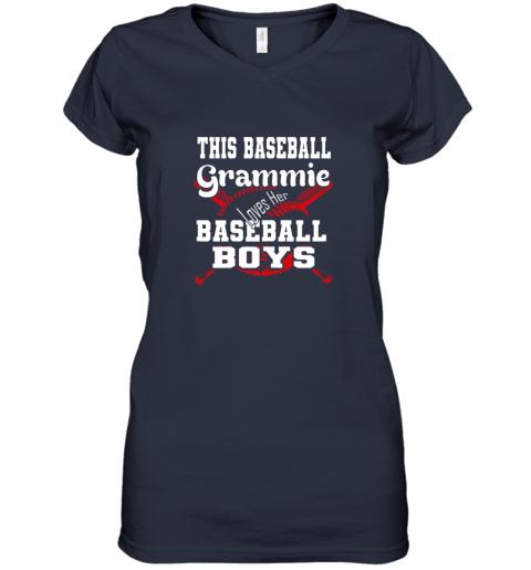 mlmy this baseball grammie loves her baseball boys women v neck t shirt 39 front navy