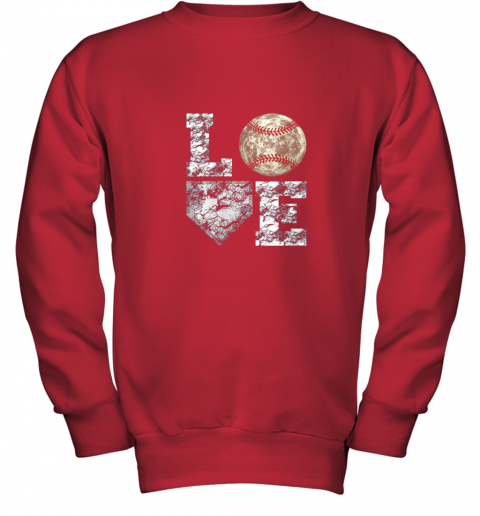 udrq baseball distressed ball cute dad mom love gift youth sweatshirt 47 front red