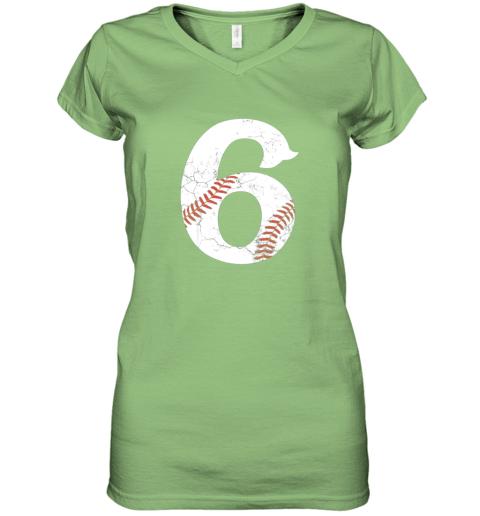 wli8 kids happy birthday 6th 6 year old baseball gift boys girls 2013 women v neck t shirt 39 front lime