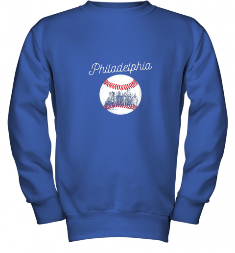 1ghk philadelphia baseball philly tshirt ball and skyline design youth sweatshirt 47 front royal