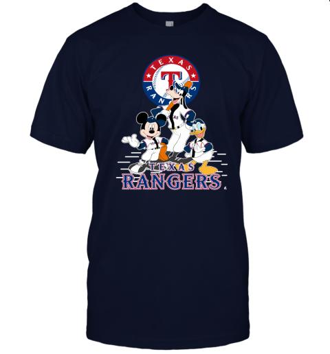 k05x texas rangers mickey donald and goofy baseball jersey t shirt 60 front navy